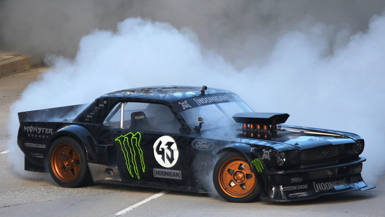 ken block s new gymkhana 7 car is a crazy 845hp awd 1965 ford mustang a monster indeed. Black Bedroom Furniture Sets. Home Design Ideas
