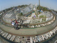 French Moto Trials Rider rides his Bike over Montana Rusa Roller Coaster in Mexico