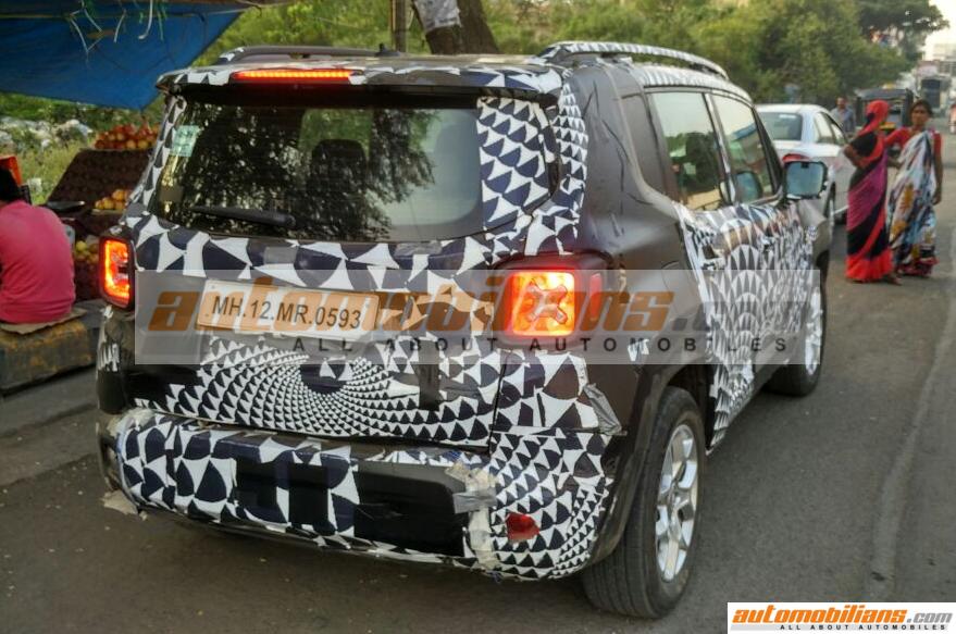 Jeep Renegade Caught Testing In Pune  Rear Shot-Automobilians.com