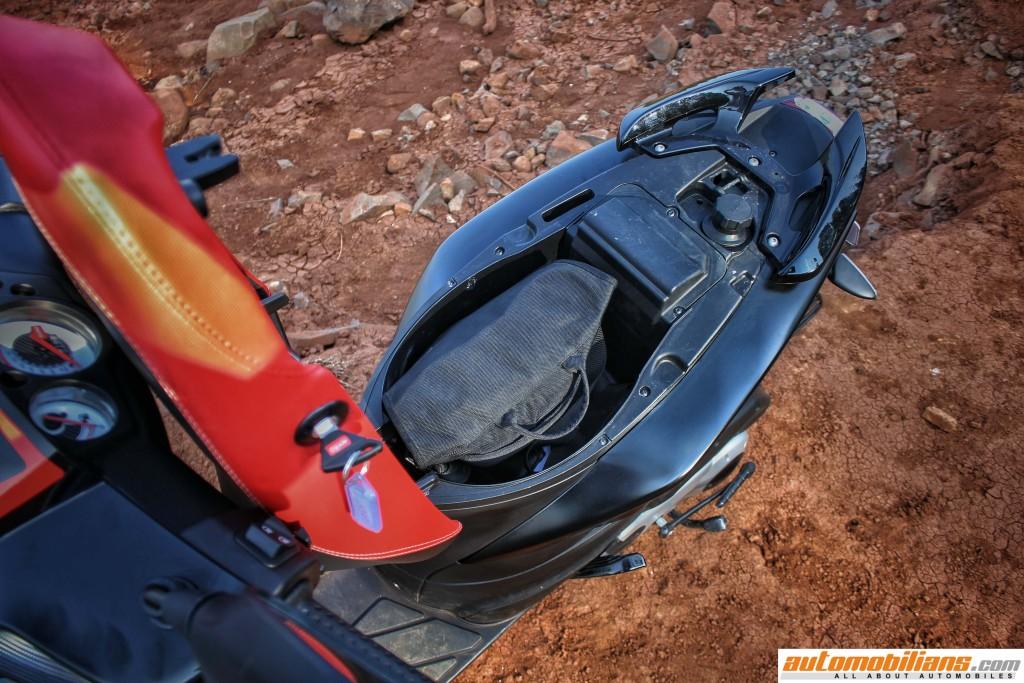 Aprilia-SR-150-Review-under-Seat-Storage